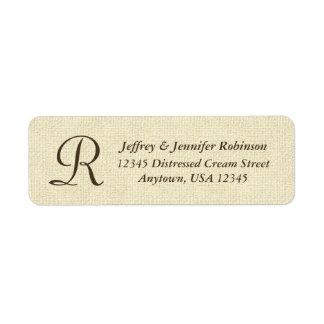 Monograma poner crema texturizado de la etiqueta etiqueta de remite