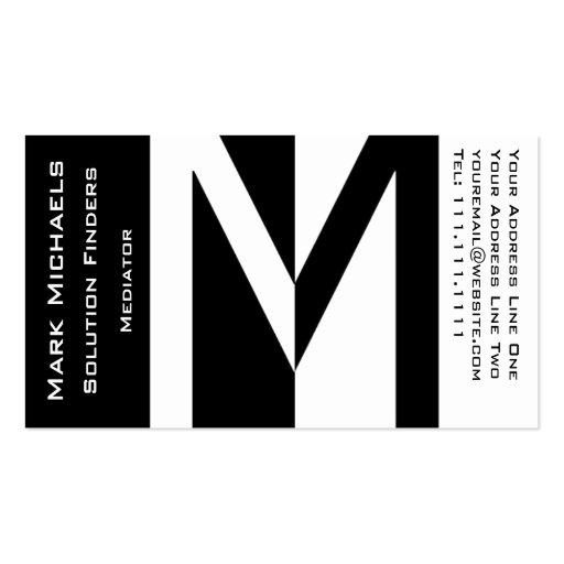Monograma profesional del negocio M blanco y negro Tarjetas De Negocios