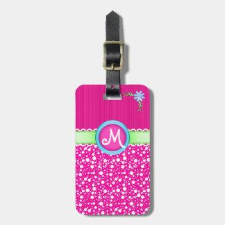 Monograma, puntos y flor rosados lindos y etiquetas bolsas
