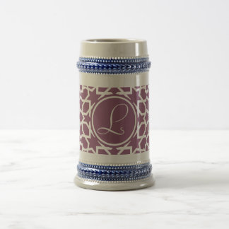 Monograma purple and geometric mosaic of arabesque beer stein