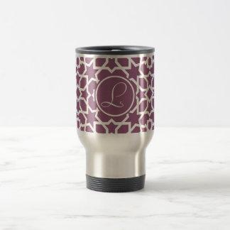 Monograma purple and geometric mosaic of arabesque travel mug
