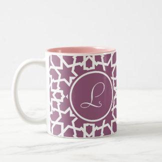 Monograma purple and geometric mosaic of arabesque Two-Tone coffee mug