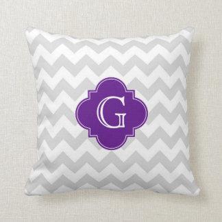 Monograma púrpura blanco gris claro de Chevron Cojines