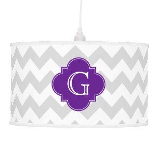 Monograma púrpura blanco gris claro de Chevron