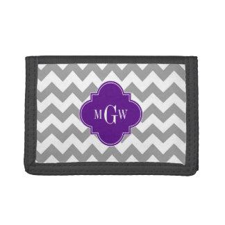 Monograma púrpura blanco gris de Chevron Quatrefoi
