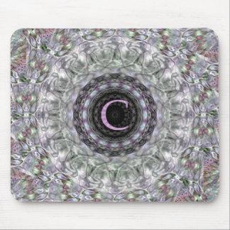 Monograma púrpura C de la estrella de la onda Tapete De Ratón