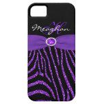 Monograma púrpura, caja negra del iPhone 5 de la c iPhone 5 Cárcasa
