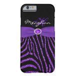 Monograma púrpura, caja negra del iPhone 6 de la Funda De iPhone 6 Barely There