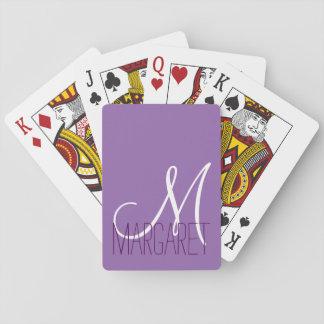 Monograma púrpura clásico de encargo barajas de cartas