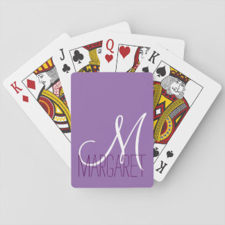 Monograma púrpura clásico de encargo cartas de póquer