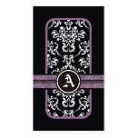 Monograma púrpura de la banda del damasco blanco n tarjeta personal