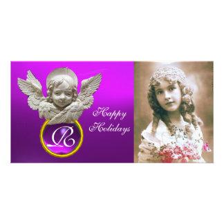 Monograma púrpura de la gema del ÁNGEL FLORENTINO Tarjeta Fotografica