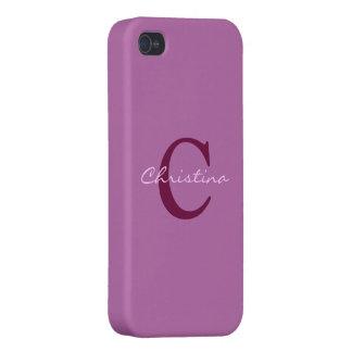 Monograma, púrpura de la inicial, caso del iphone  iPhone 4 carcasa