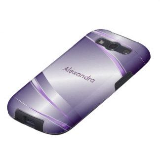 Monograma púrpura de la mirada de Metalli del Galaxy S3 Fundas