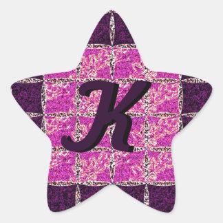 Monograma púrpura de la mirada de Moaic Pegatina En Forma De Estrella