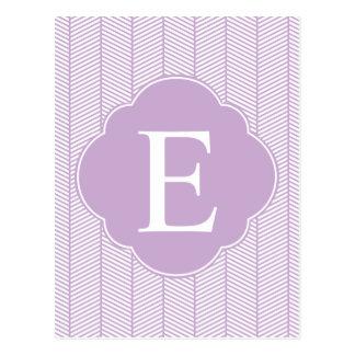 Monograma púrpura de la raspa de arenque postal