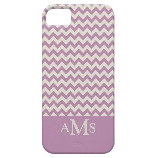 Monograma púrpura de la raya 3 de Chevron iPhone 5 Protectores