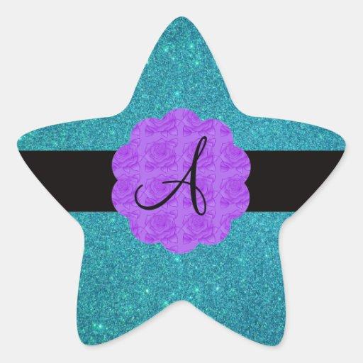 Monograma púrpura de los rosas del brillo de la pegatina en forma de estrella