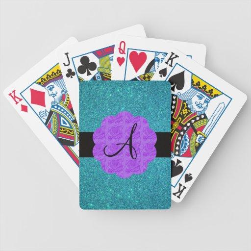 Monograma púrpura de los rosas del brillo de la tu baraja de cartas