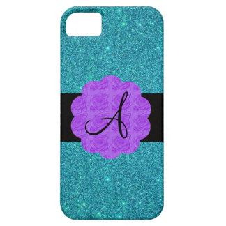 Monograma púrpura de los rosas del brillo de la tu iPhone 5 protector