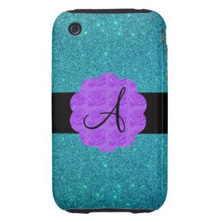 Monograma púrpura de los rosas del brillo de la tu iPhone 3 tough cobertura