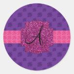 Monograma púrpura de los rosas pegatinas