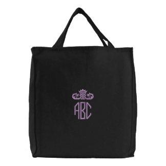 Monograma púrpura de muy buen gusto con el bolso bolsa