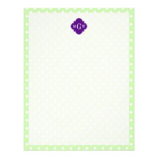 Monograma púrpura de Quatrefoil 3 del lunar del Membretes Personalizados