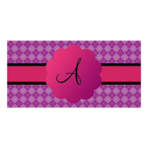 Monograma púrpura del argyle tarjeta fotográfica personalizada