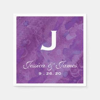 Monograma púrpura del boda de la llovizna servilleta desechable