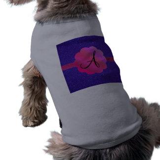 Monograma púrpura del brillo ropa macota