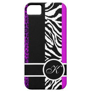 Monograma púrpura del estampado de animales del iPhone 5 carcasa
