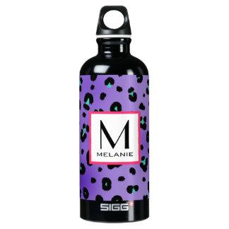 Monograma púrpura del estampado leopardo