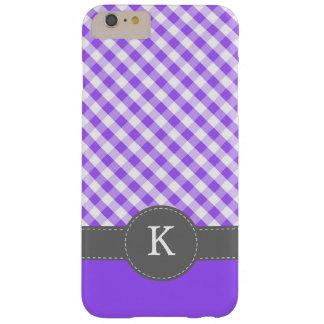 Monograma púrpura del modelo de la guinga funda barely there iPhone 6 plus