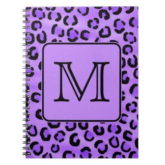 Monograma púrpura del personalizado del estampado  cuaderno