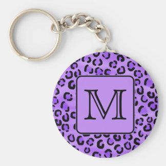 Monograma púrpura del personalizado del estampado  llavero redondo tipo pin