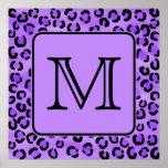Monograma púrpura del personalizado del estampado  poster
