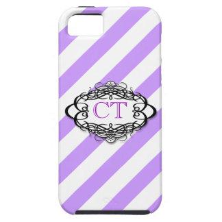 Monograma púrpura del vintage de la raya del caram iPhone 5 Case-Mate coberturas