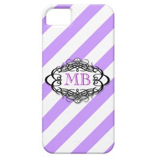 Monograma púrpura del vintage de la raya del caram iPhone 5 coberturas