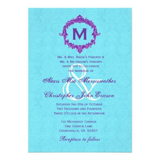 Monograma púrpura del vintage de la turquesa que c comunicado personalizado