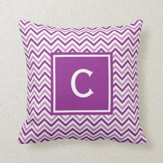 Monograma púrpura doble de Chevron Cojin