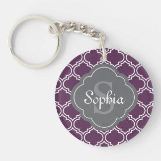 Monograma púrpura elegante del gris del enrejado llavero redondo acrílico a doble cara