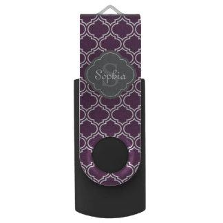 Monograma púrpura elegante del gris del enrejado memoria USB