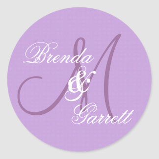 Monograma púrpura elegante M del boda o inicial Pegatinas Redondas