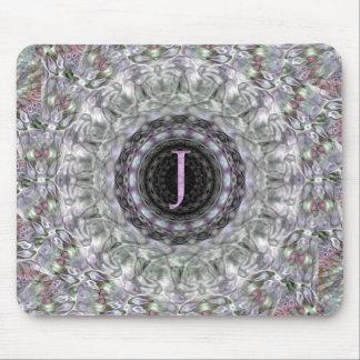 Monograma púrpura J de la estrella de la onda Tapetes De Raton