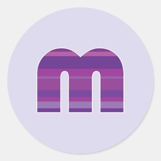 Monograma púrpura - letra M Pegatina Redonda