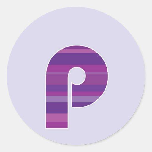 Monograma púrpura - letra P Etiqueta