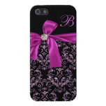 Monograma púrpura negro elegante del arco del diam iPhone 5 protectores