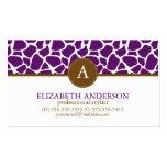 Monograma púrpura oscuro del modelo de la jirafa tarjeta de visita