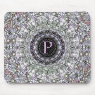 Monograma púrpura P de la estrella de la onda Tapetes De Ratón